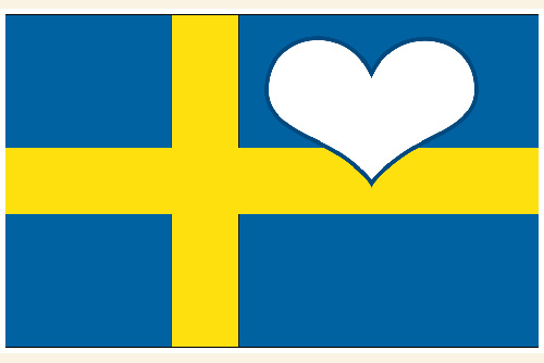 Swedish flag with heart