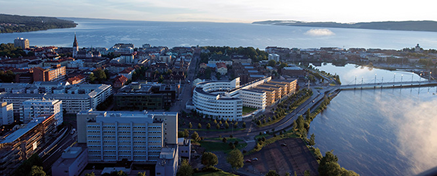 Drone photo of campus with Jönköping and lake Vättern in the background on a sunny day